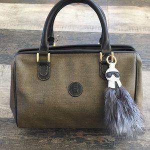 Fendi Boston doctor frame bag & genuine fur charm